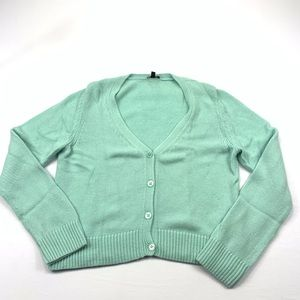 Talbots knit sweater button v neck wool turquoise